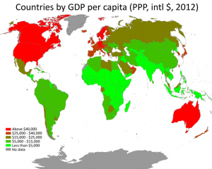 global poverty map by GDP per capita