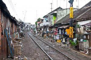 Unidentified poor people living in slum, Indonesia.