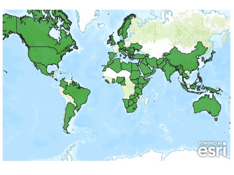 Countries Shaded Green: Give A Billion Has Visitors From Over 100 Countries Worldwide